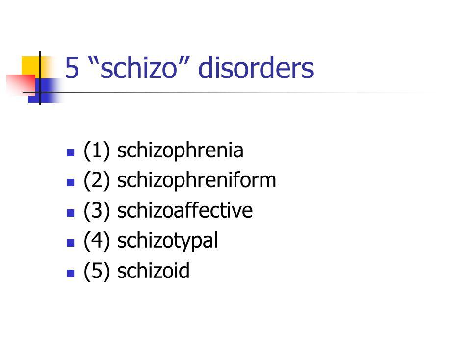 "5 ""schizo"" disorders (1) schizophrenia (2) schizophreniform (3) schizoaffective (4) schizotypal (5) schizoid"