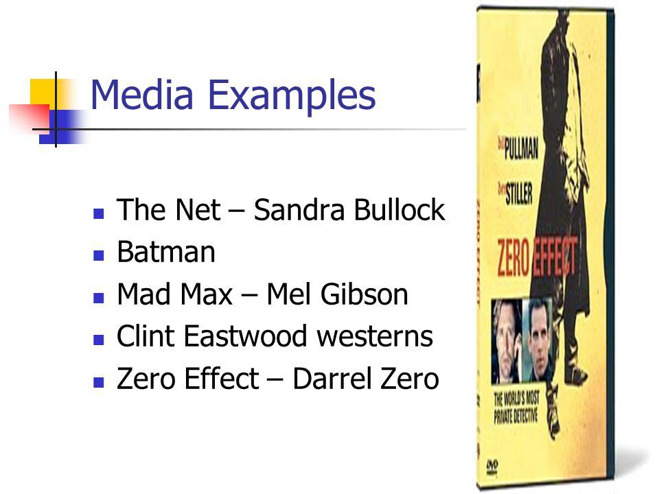 Media Examples The Net – Sandra Bullock Batman Mad Max – Mel Gibson Clint Eastwood westerns Zero Effect – Darrel Zero