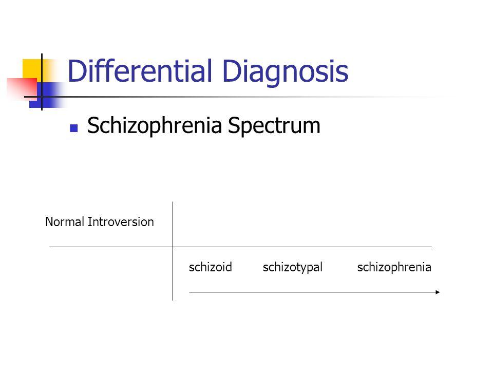 Differential Diagnosis Schizophrenia Spectrum Normal Introversion schizoidschizotypalschizophrenia