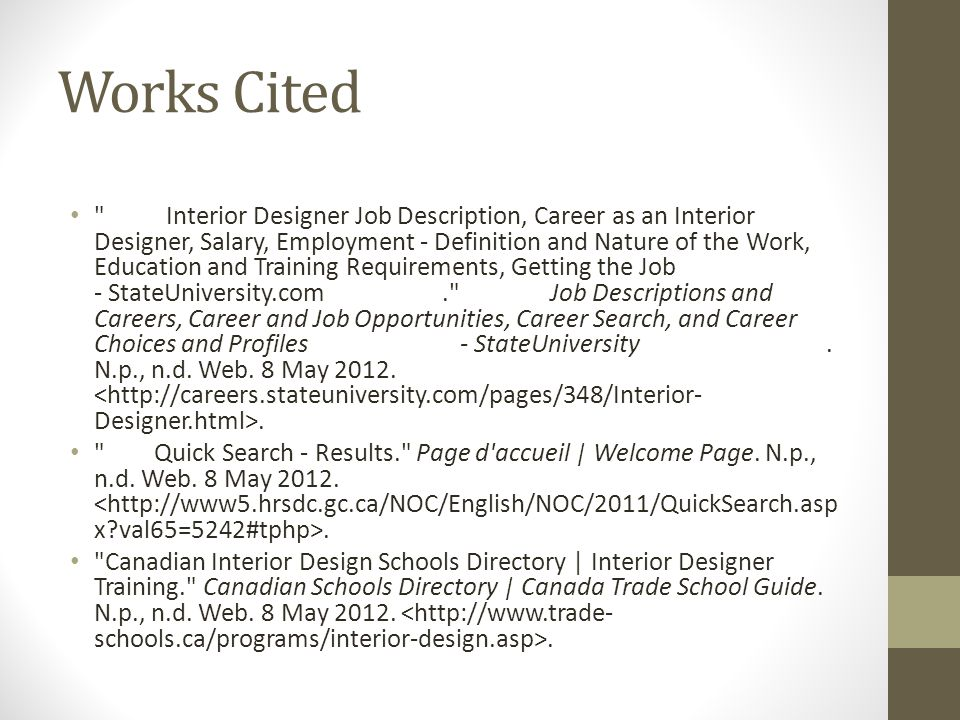 Works Cited Interior Designer Job Description Career As An Salary Employment
