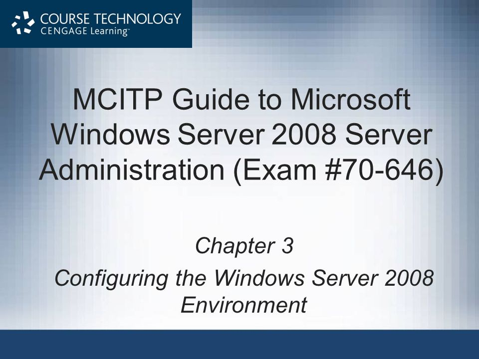 Configuring Startup and Recovery System startup options: –Default operating system –Display list of operating systems –Display list of recovery options System failure options: –Writing to system log (cannot be disabled) –Start automatically after failure –How and where to write debugging information MCITP Guide to Microsoft Windows Server 2008, Server Administration (Exam #70-646) 32