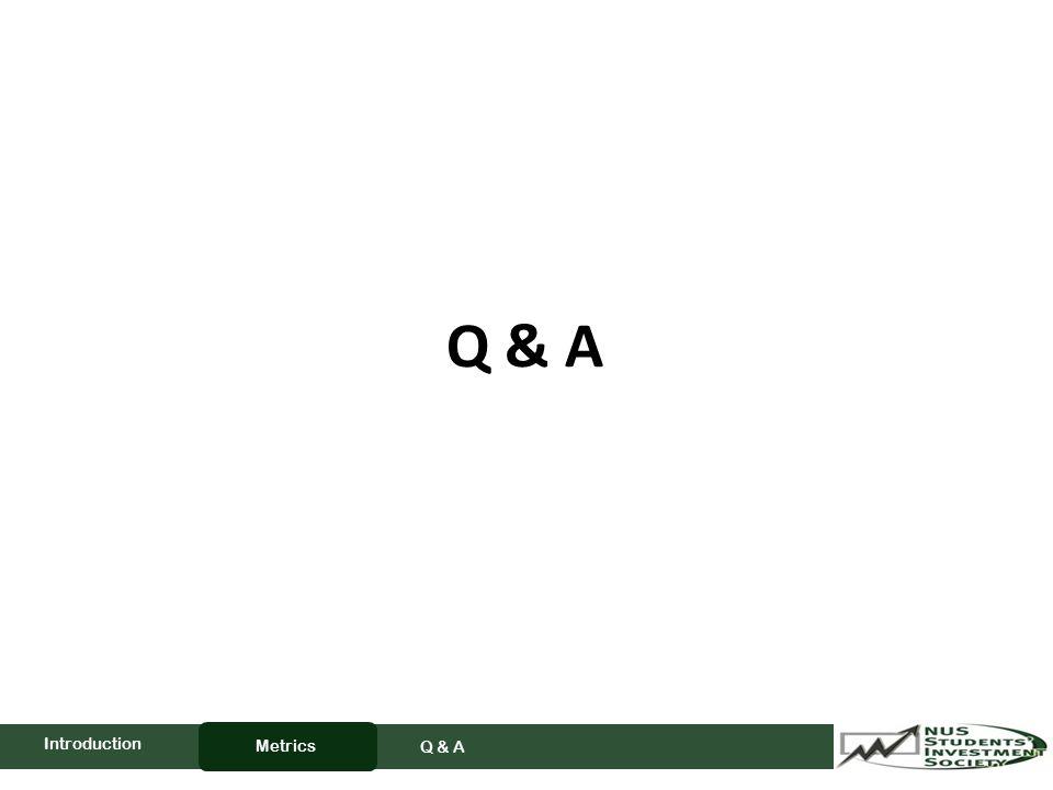 Q & A Metrics Q & A Introduction