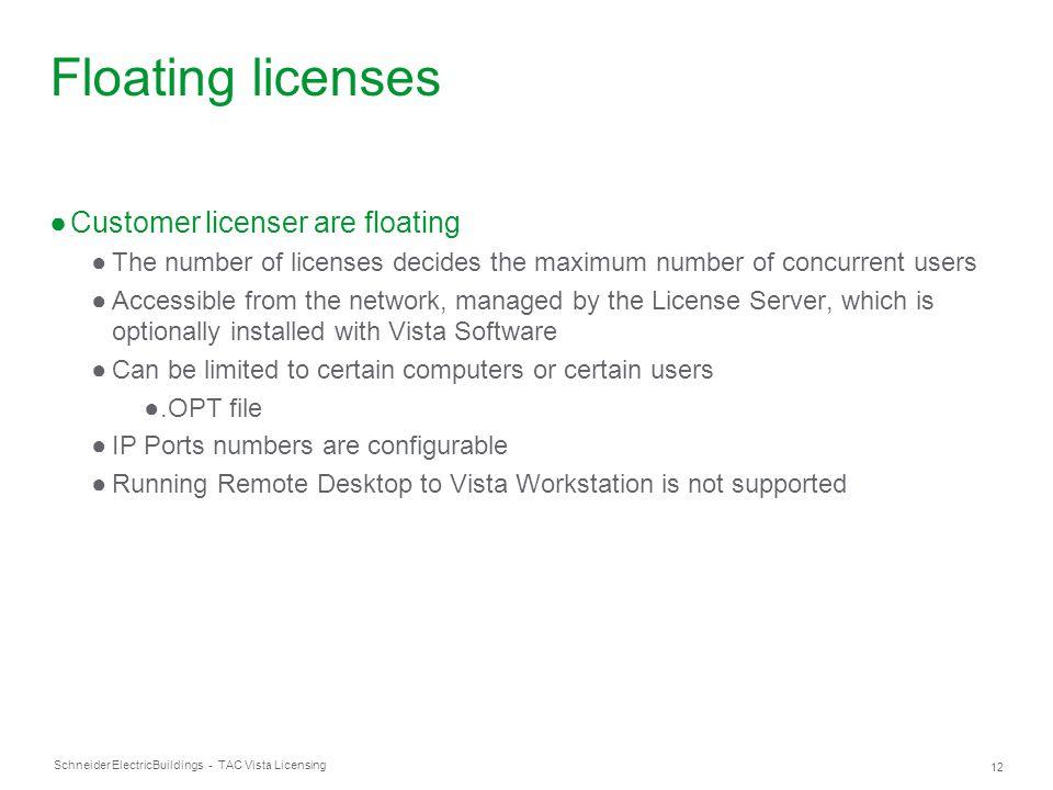 Schneider Electric 12 Buildings - TAC Vista Licensing Floating licenses ●Customer licenser are floating ●The number of licenses decides the maximum nu