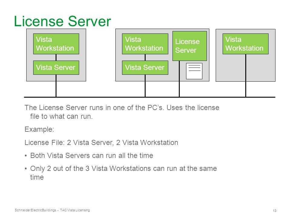 Schneider Electric 13 Buildings - TAC Vista Licensing Vista Workstation Vista Server Vista Workstation Vista Server Vista Workstation License Server T