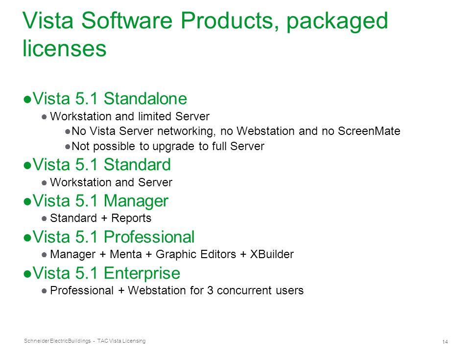 Schneider Electric 14 Buildings - TAC Vista Licensing Vista Software Products, packaged licenses ●Vista 5.1 Standalone ●Workstation and limited Server