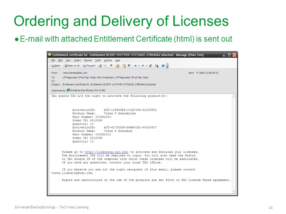 Schneider Electric 24 Buildings - TAC Vista Licensing Ordering and Delivery of Licenses ●E-mail with attached Entitlement Certificate (html) is sent o