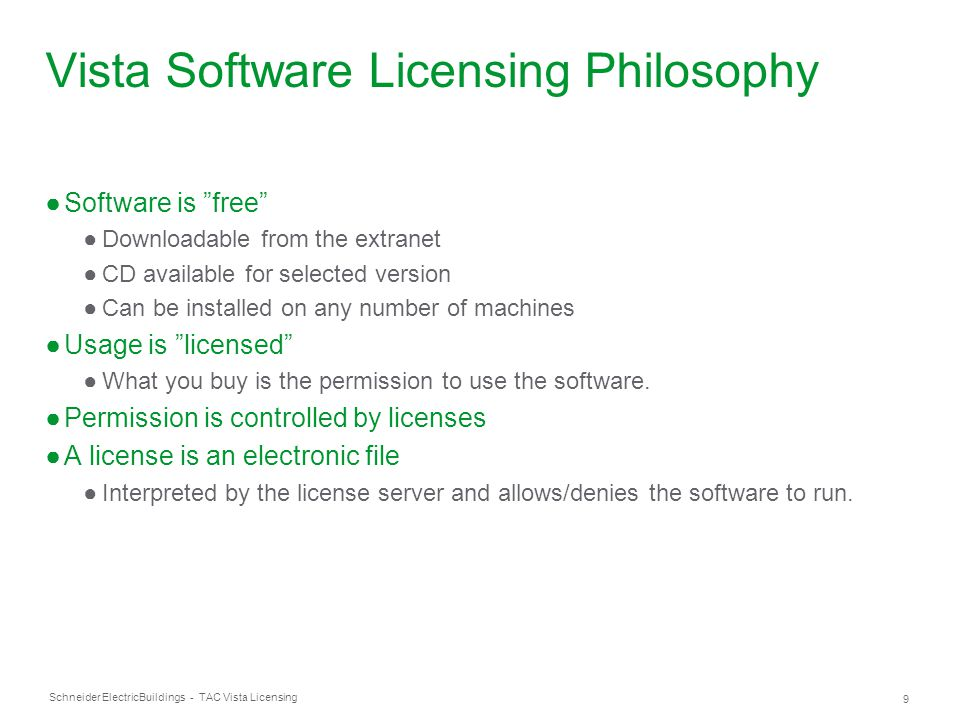 Schneider Electric 60 Buildings - TAC Vista Licensing Q: How can I limit what computers get access to licenses over the network.