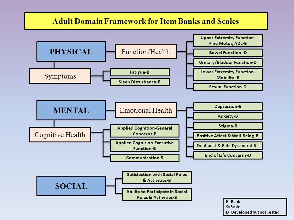 PHYSICAL Adult Domain Framework for Item Banks and Scales Symptoms Function/Health Fatigue-B Sleep Disturbance-B Lower Extremity Function- Mobility- B MENTAL Cognitive Health Emotional Health SOCIAL Ability to Participate in Social Roles & Activities-B Satisfaction with Social Roles & Activities-B Bowel Function -D Upper Extremity Function- Fine Motor, ADL-B Sexual Function-D Depression-B Anxiety-B Stigma-B Positive Affect & Well-Being-B Emotional & Beh.