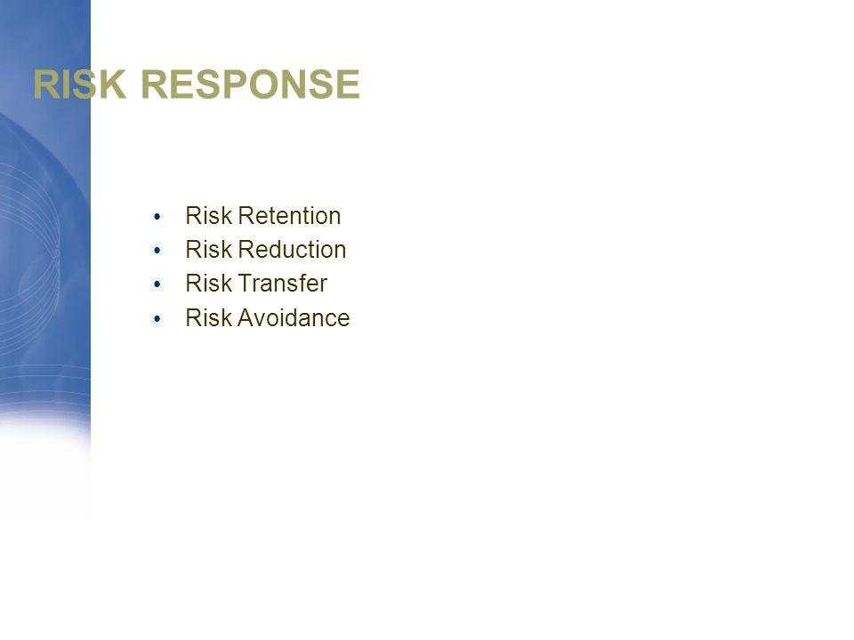 RISK RESPONSE Risk Retention Risk Reduction Risk Transfer Risk Avoidance