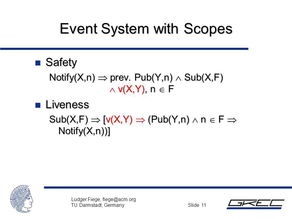 Ludger Fiege, fiege@acm.org TU Darmstadt, Germany Slide 11 Event System with Scopes n Safety Notify(X,n)  prev. Pub(Y,n)  Sub(X,F)  v(X,Y), n  F n