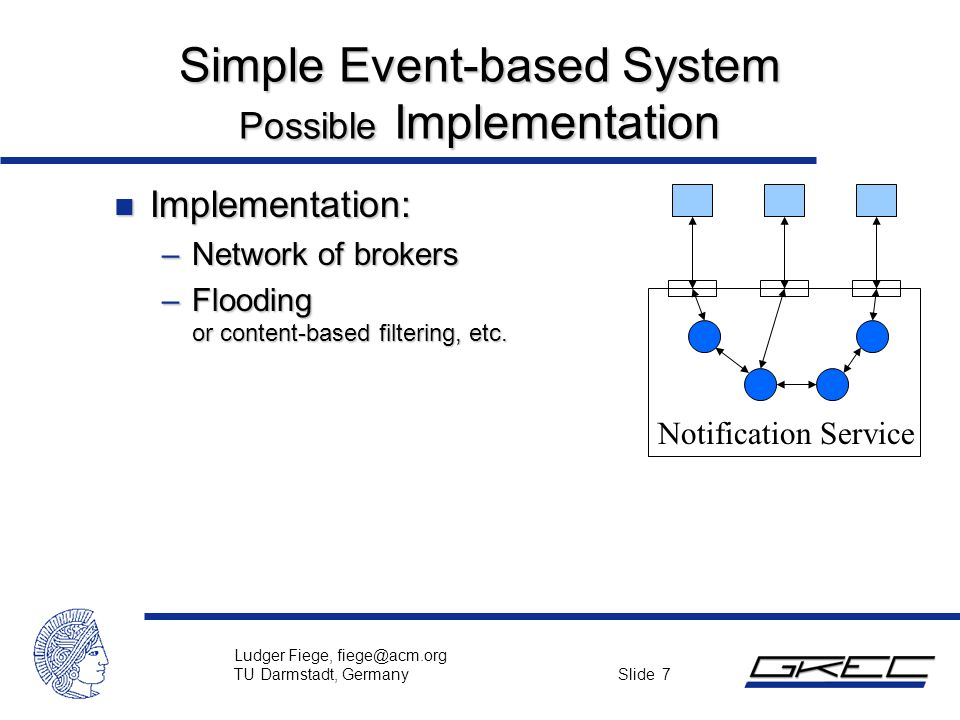 Ludger Fiege, fiege@acm.org TU Darmstadt, Germany Slide 7 Simple Event-based System Possible Implementation n Implementation: –Network of brokers –Flo
