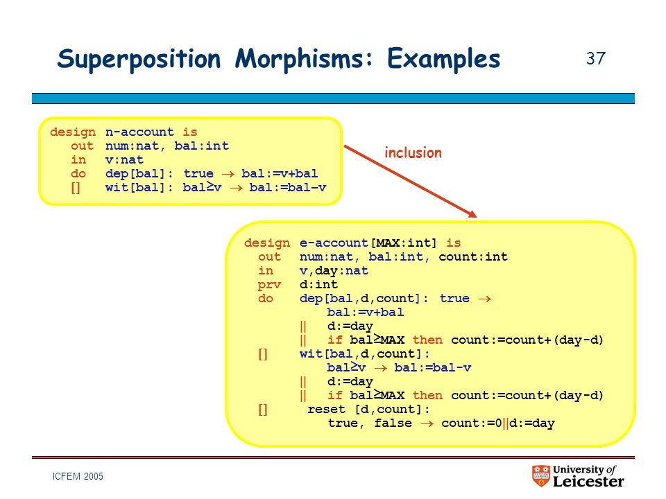 ICFEM 2005 37 Superposition Morphisms: Examples designn-account is outnum:nat, bal:int inv:nat dodep[bal]: true  bal:=v+bal  wit[bal]: bal≥v  bal: