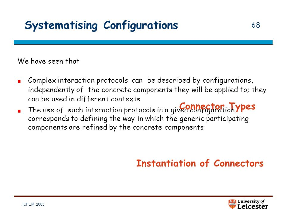 ICFEM 2005 68 Systematising Configurations We have seen that Complex interaction protocols can be described by configurations, independently of the co