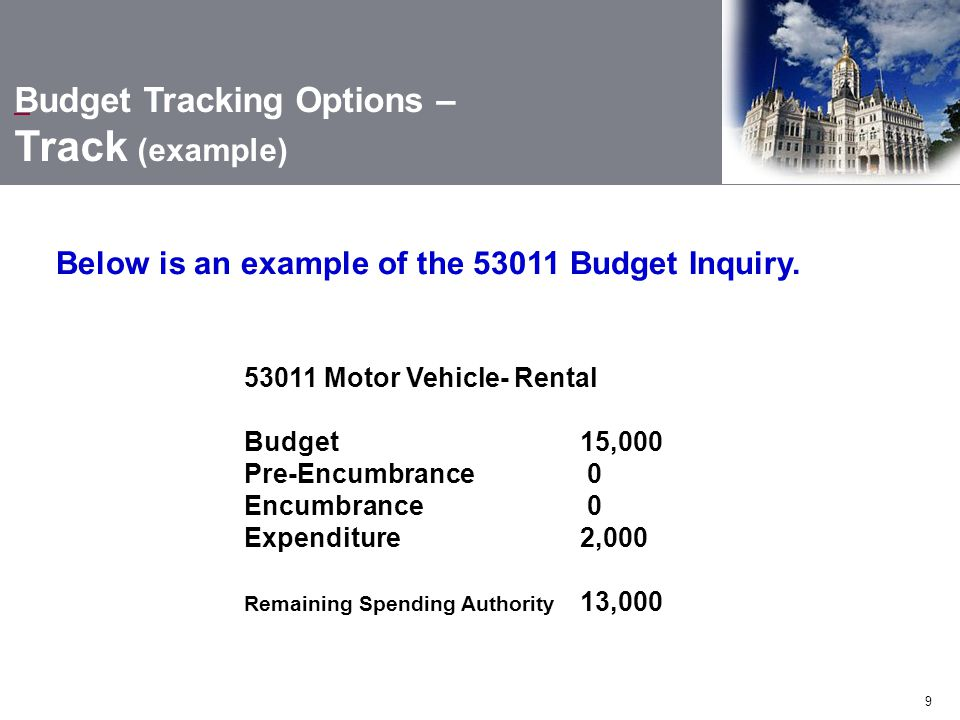 9 Budget Tracking Options – Track (example) Below is an example of the 53011 Budget Inquiry.