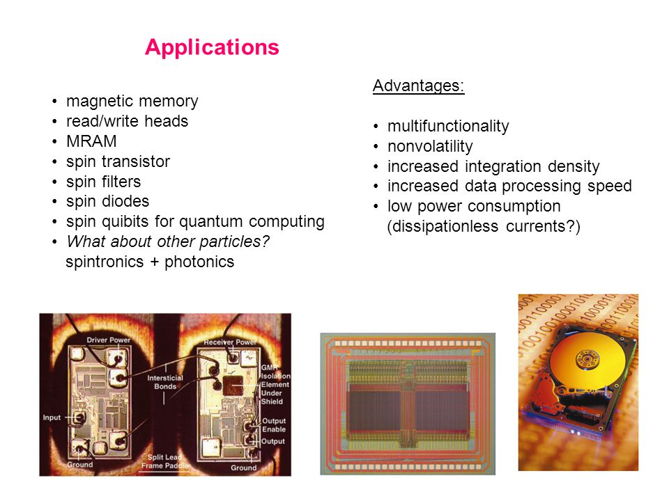 Applications magnetic memory read/write heads MRAM spin transistor spin filters spin diodes spin quibits for quantum computing What about other particles.