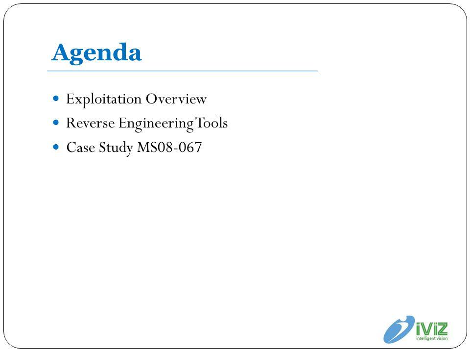 Agenda Exploitation Overview Reverse Engineering Tools Case Study MS08-067