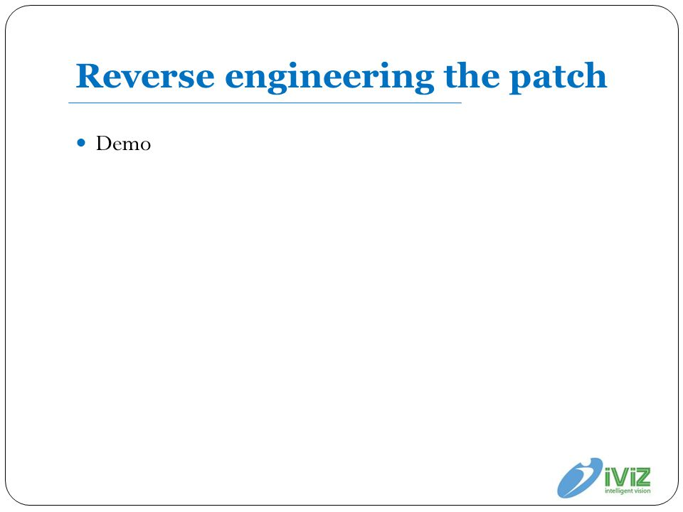 Reverse engineering the patch Demo