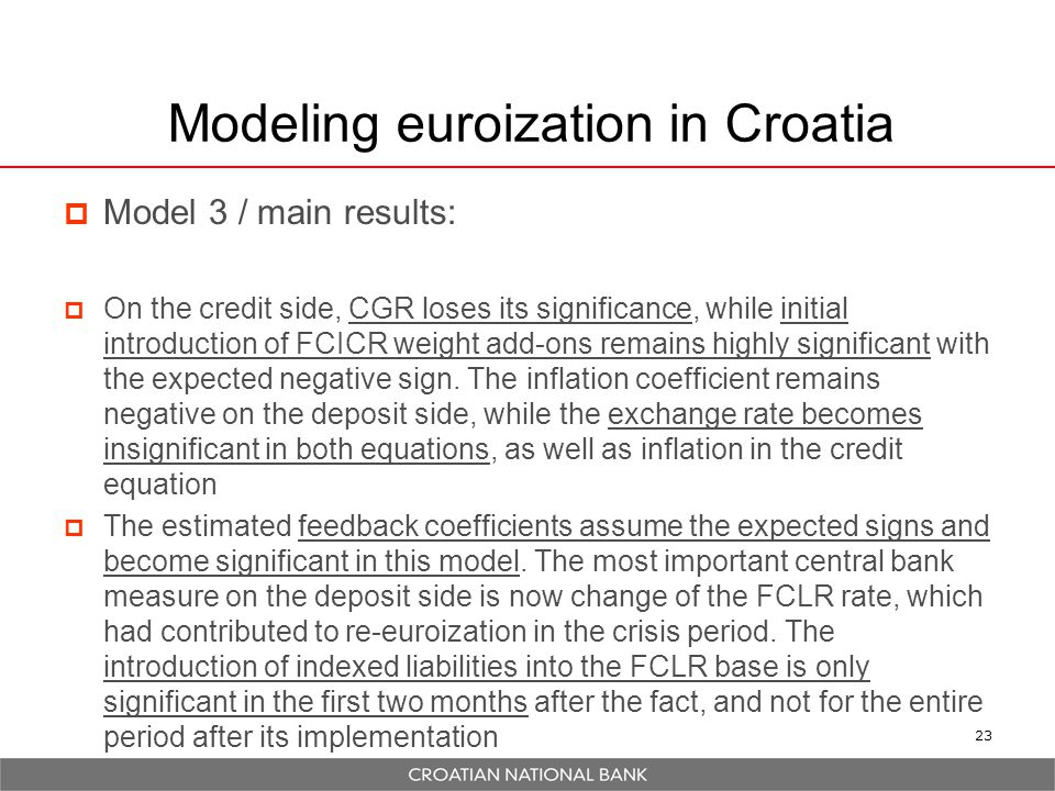 23 Modeling euroization in Croatia  Model 3 / main results:  On the credit side, CGR loses its significance, while initial introduction of FCICR weight add-ons remains highly significant with the expected negative sign.