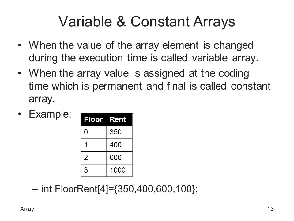 Variable & Constant Arrays When the value of the array element is changed during the execution time is called variable array. When the array value is