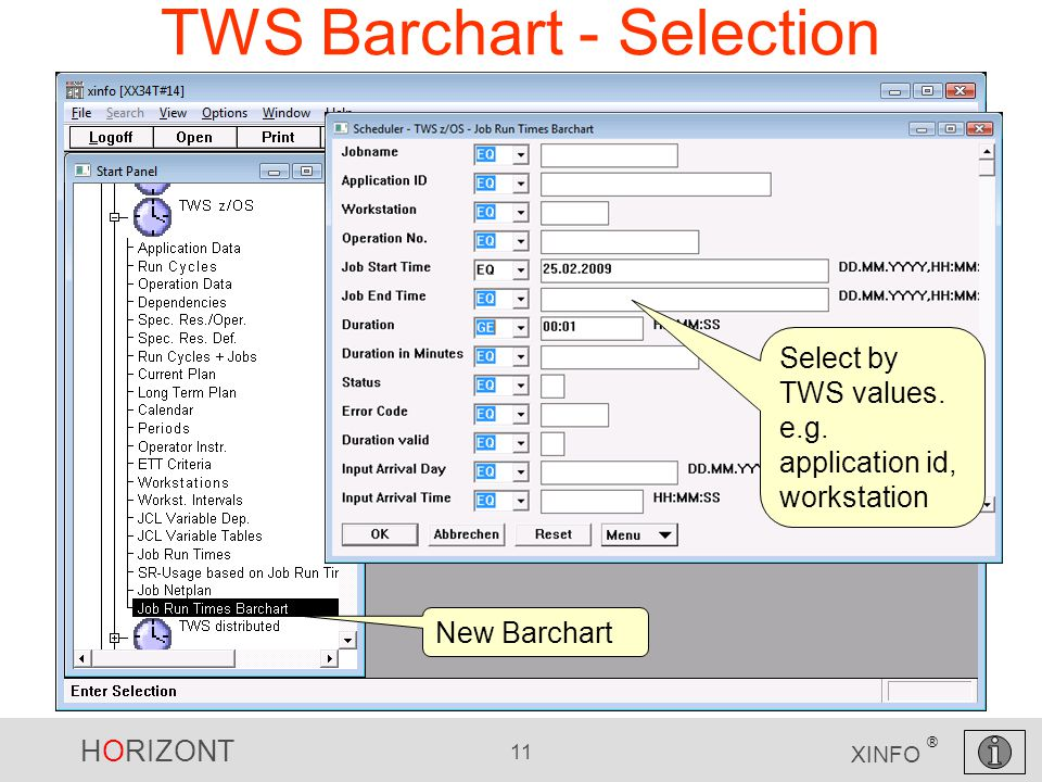 HORIZONT 11 XINFO ® TWS Barchart - Selection New Barchart Select by TWS values.