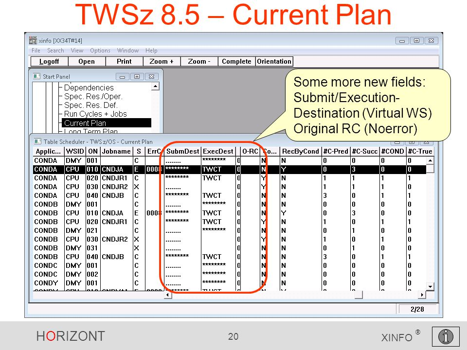 HORIZONT 20 XINFO ® TWSz 8.5 – Current Plan Some more new fields: Submit/Execution- Destination (Virtual WS) Original RC (Noerror)