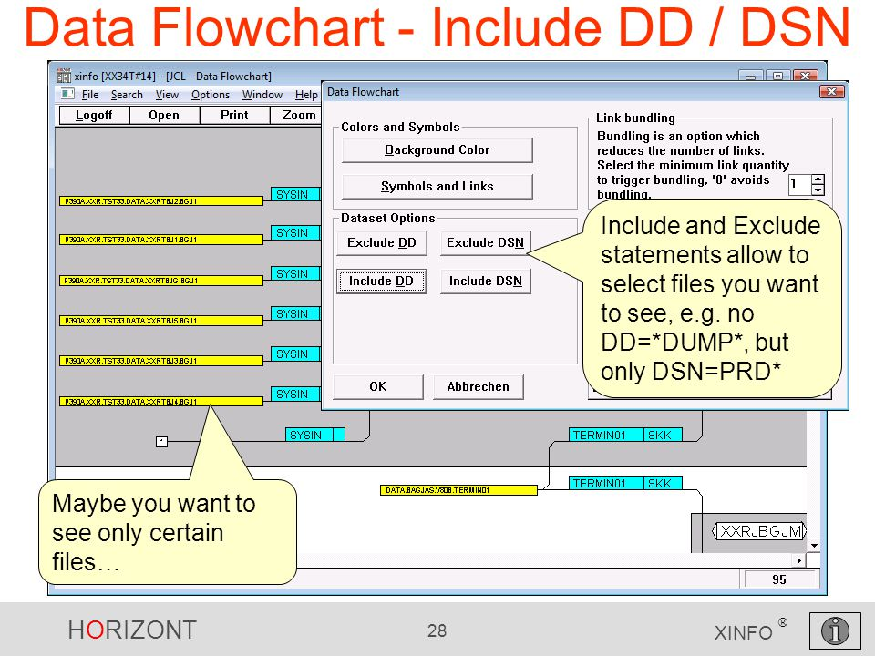 HORIZONT 28 XINFO ® Data Flowchart - Include DD / DSN Maybe you want to see only certain files… Include and Exclude statements allow to select files y