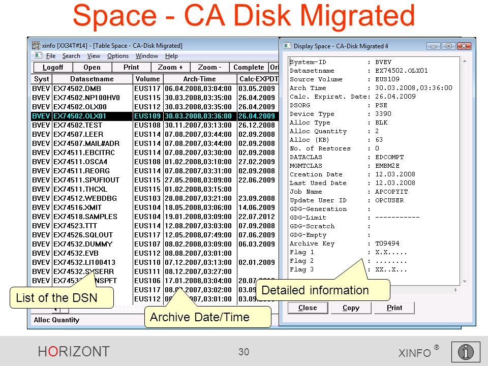 HORIZONT 30 XINFO ® Space - CA Disk Migrated List of the DSN Detailed information Archive Date/Time