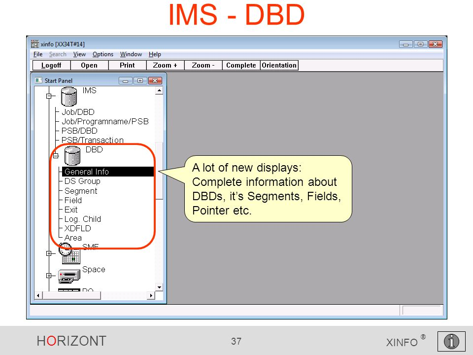 HORIZONT 37 XINFO ® IMS - DBD A lot of new displays: Complete information about DBDs, it's Segments, Fields, Pointer etc.