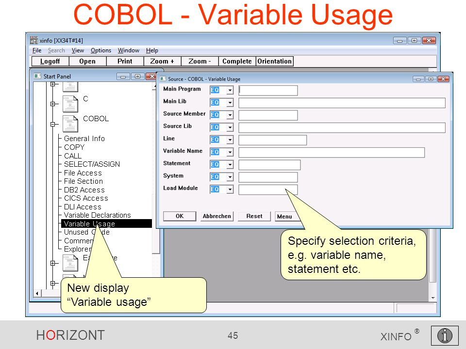 HORIZONT 45 XINFO ® COBOL - Variable Usage New display Variable usage Specify selection criteria, e.g.