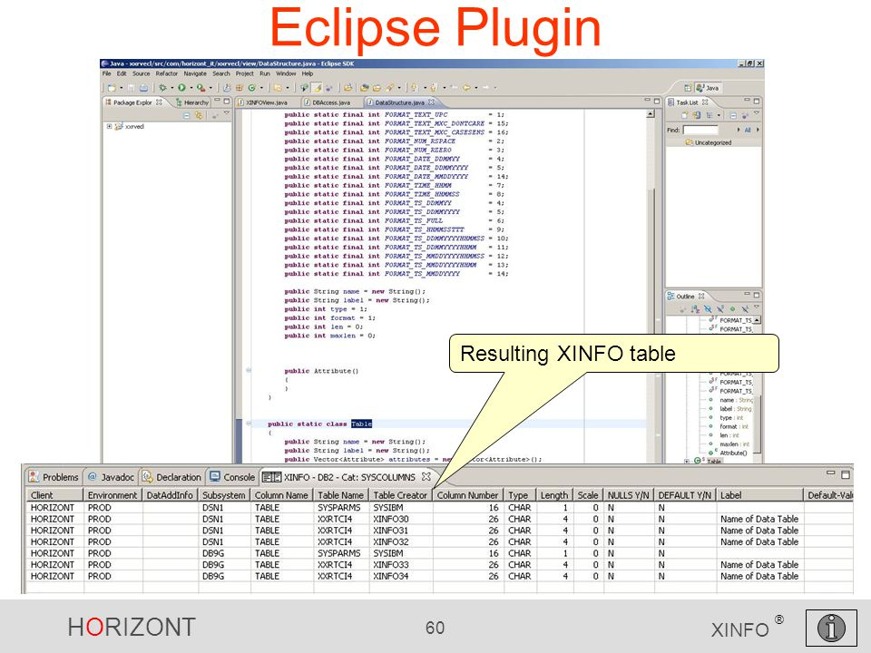 HORIZONT 60 XINFO ® Eclipse Plugin Resulting XINFO table