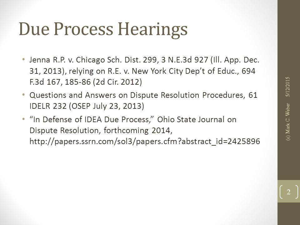 Due Process Hearings Jenna R.P. v. Chicago Sch. Dist.