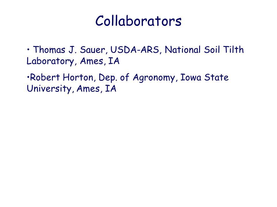 Collaborators Thomas J. Sauer, USDA-ARS, National Soil Tilth Laboratory, Ames, IA Robert Horton, Dep. of Agronomy, Iowa State University, Ames, IA