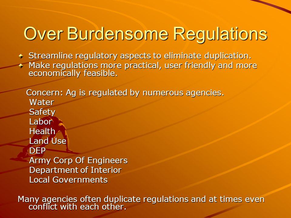 Over Burdensome Regulations Streamline regulatory aspects to eliminate duplication. Make regulations more practical, user friendly and more economical