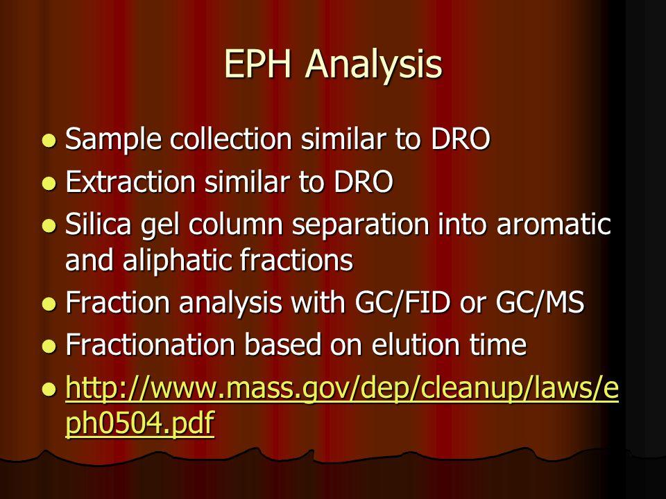EPH Analysis Sample collection similar to DRO Sample collection similar to DRO Extraction similar to DRO Extraction similar to DRO Silica gel column s