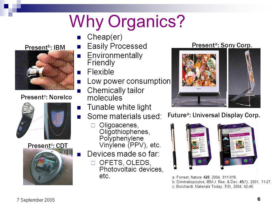 6 7 September 2005 Why Organics.