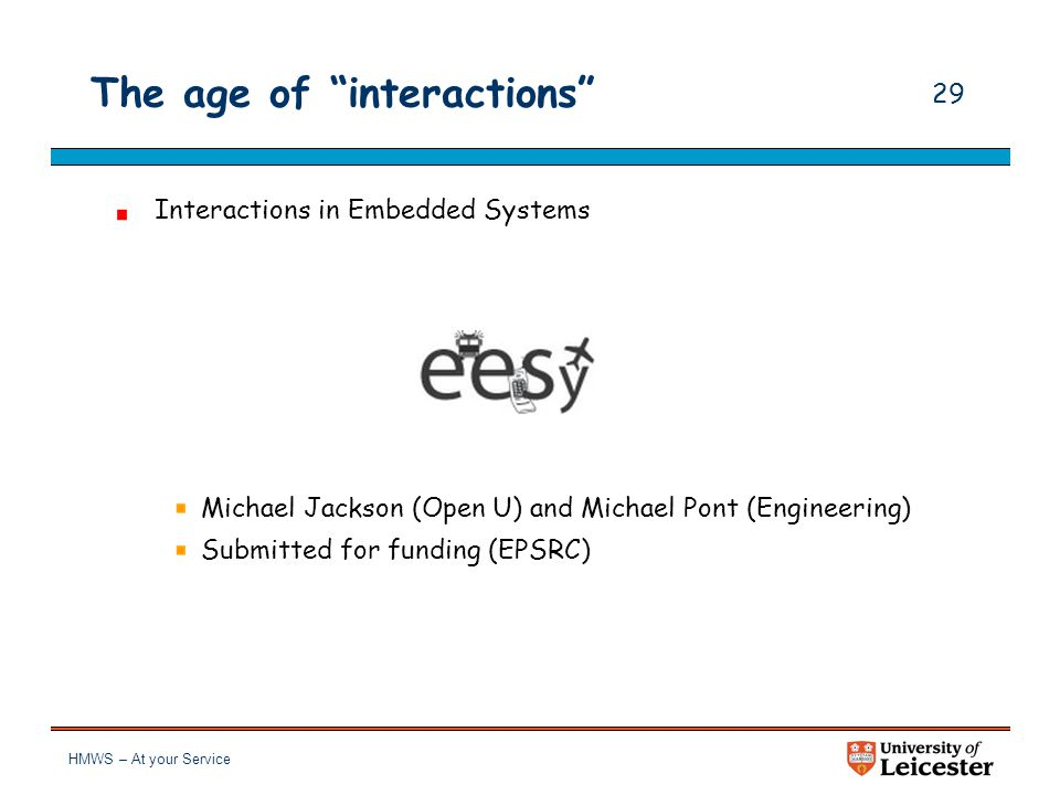 """HMWS – At your Service 28 The age of """"interactions"""" Services, Policies, Resources and Interactions for Domain and Platform Co-evolution Piotr Kosiucze"""