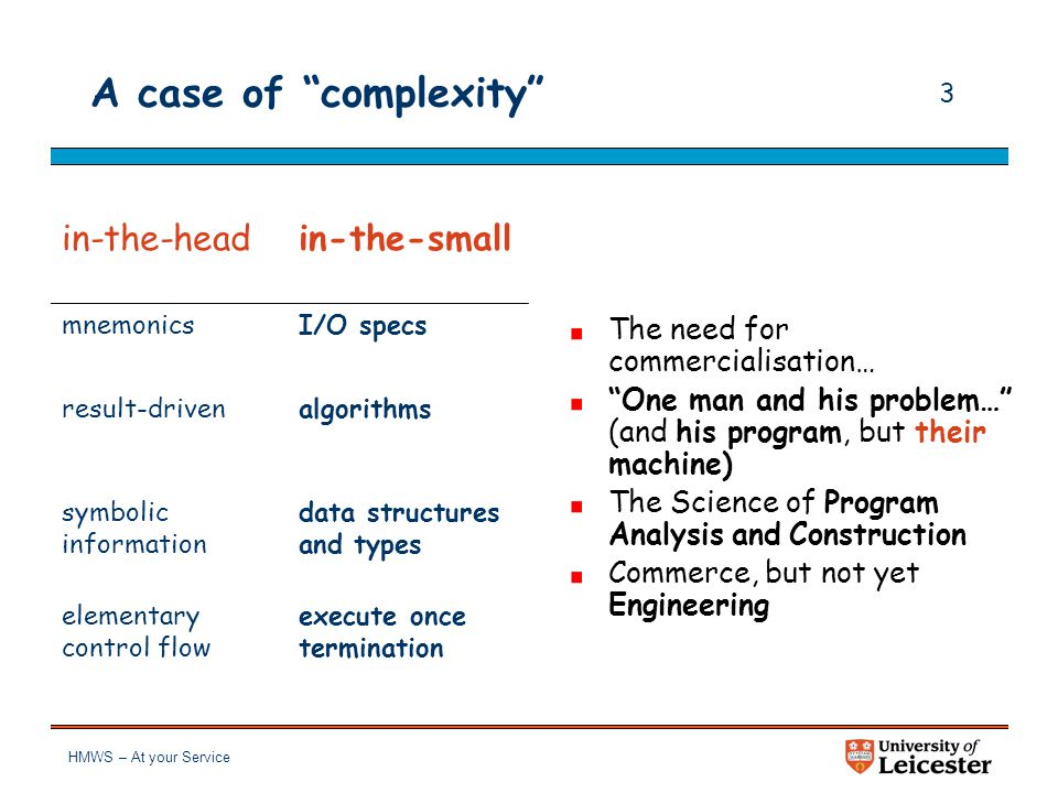 """HMWS – At your Service 2 A case of """"complexity"""" in-the-head mnemonics result-driven symbolic information elementary control flow """"One man and his prob"""