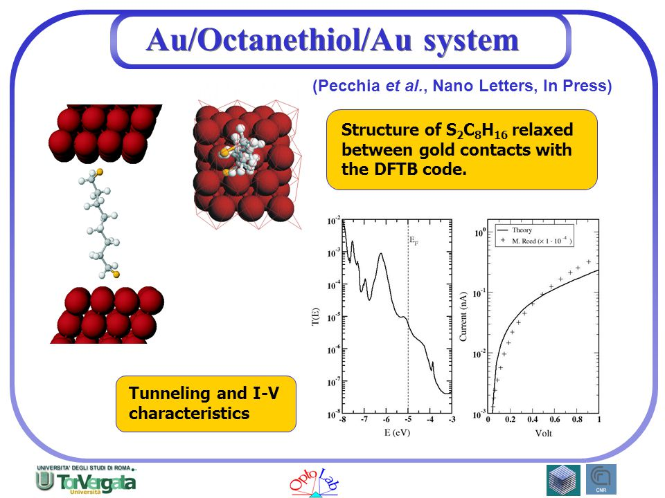 Au/Octanethiol/Au system Structure of S 2 C 8 H 16 relaxed between gold contacts with the DFTB code.