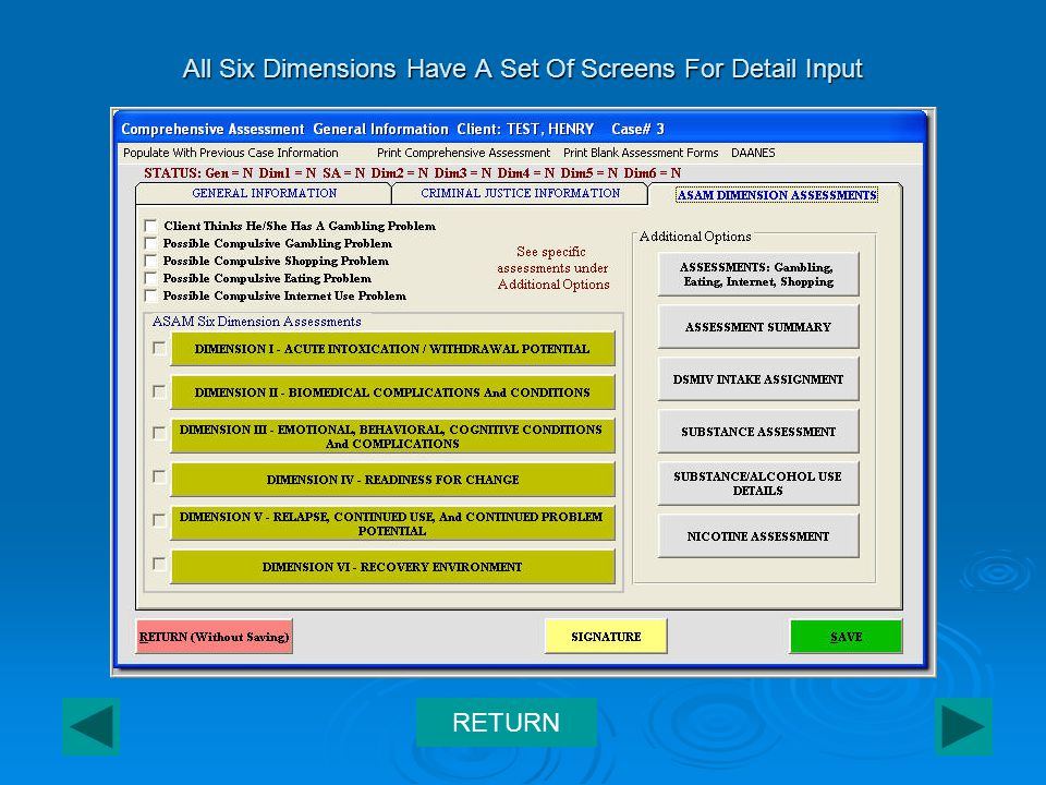 All Six Dimensions Have A Set Of Screens For Detail Input RETURN