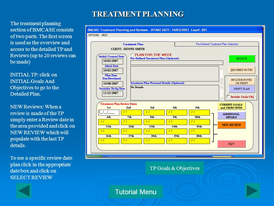 The treatment planning section of BMCASE consists of two parts.