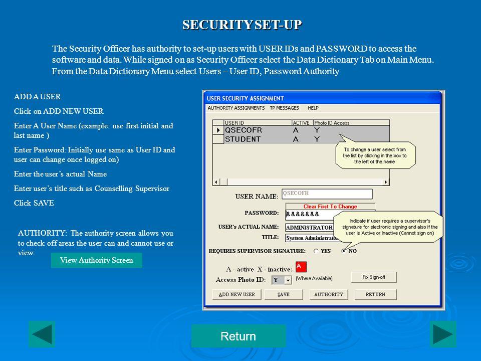 SECURITY – User Authority Return