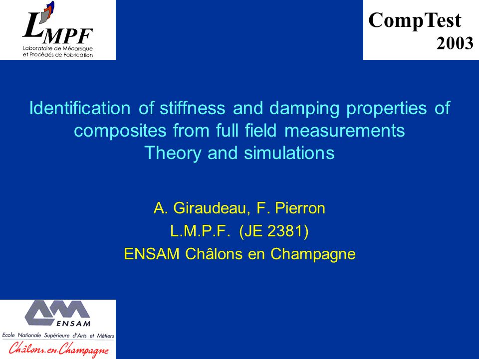 Identification of stiffness and damping properties of composites from full field measurements Theory and simulations A.