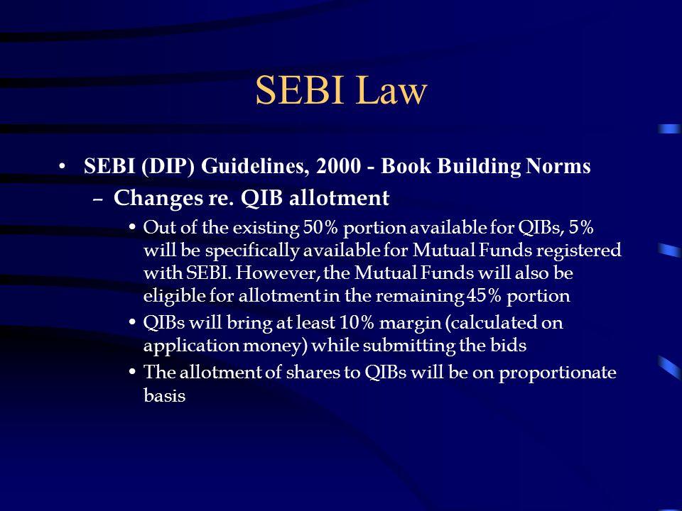 SEBI Law SEBI (DIP) Guidelines, 2000 - Book Building Norms – Changes re.