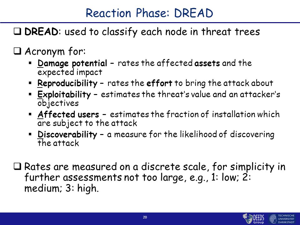 20 Reaction Phase: DREAD  DREAD: used to classify each node in threat trees  Acronym for:  Damage potential – rates the affected assets and the expected impact  Reproducibility – rates the effort to bring the attack about  Exploitability – estimates the threat's value and an attacker's objectives  Affected users – estimates the fraction of installation which are subject to the attack  Discoverability – a measure for the likelihood of discovering the attack  Rates are measured on a discrete scale, for simplicity in further assessments not too large, e.g., 1: low; 2: medium; 3: high.