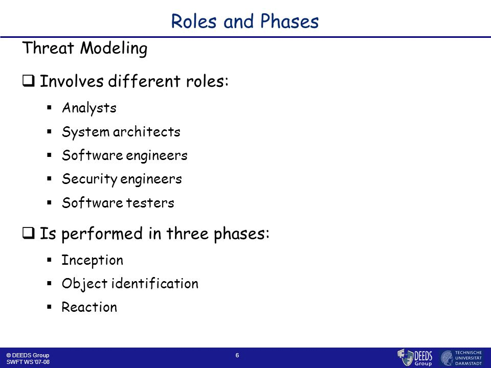 6 Roles and Phases Threat Modeling  Involves different roles:  Analysts  System architects  Software engineers  Security engineers  Software testers  Is performed in three phases:  Inception  Object identification  Reaction © DEEDS Group SWFT WS '07-08