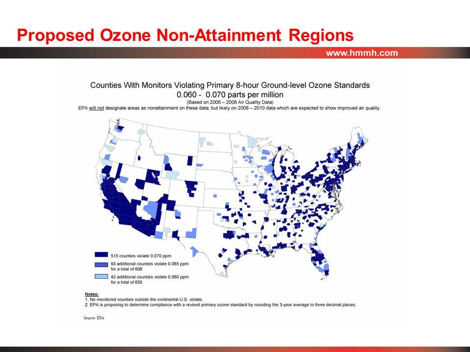 Proposed Ozone Non-Attainment Regions Source: EPA