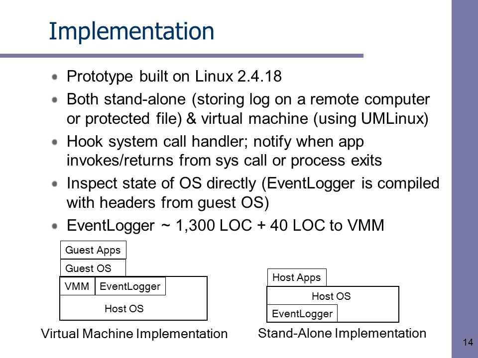 14 Implementation Prototype built on Linux 2.4.18 Both stand-alone (storing log on a remote computer or protected file) & virtual machine (using UMLinux) Hook system call handler; notify when app invokes/returns from sys call or process exits Inspect state of OS directly (EventLogger is compiled with headers from guest OS) EventLogger ~ 1,300 LOC + 40 LOC to VMM Guest OS Host OS VMMEventLogger Guest Apps Host OS EventLogger Host Apps Virtual Machine Implementation Stand-Alone Implementation