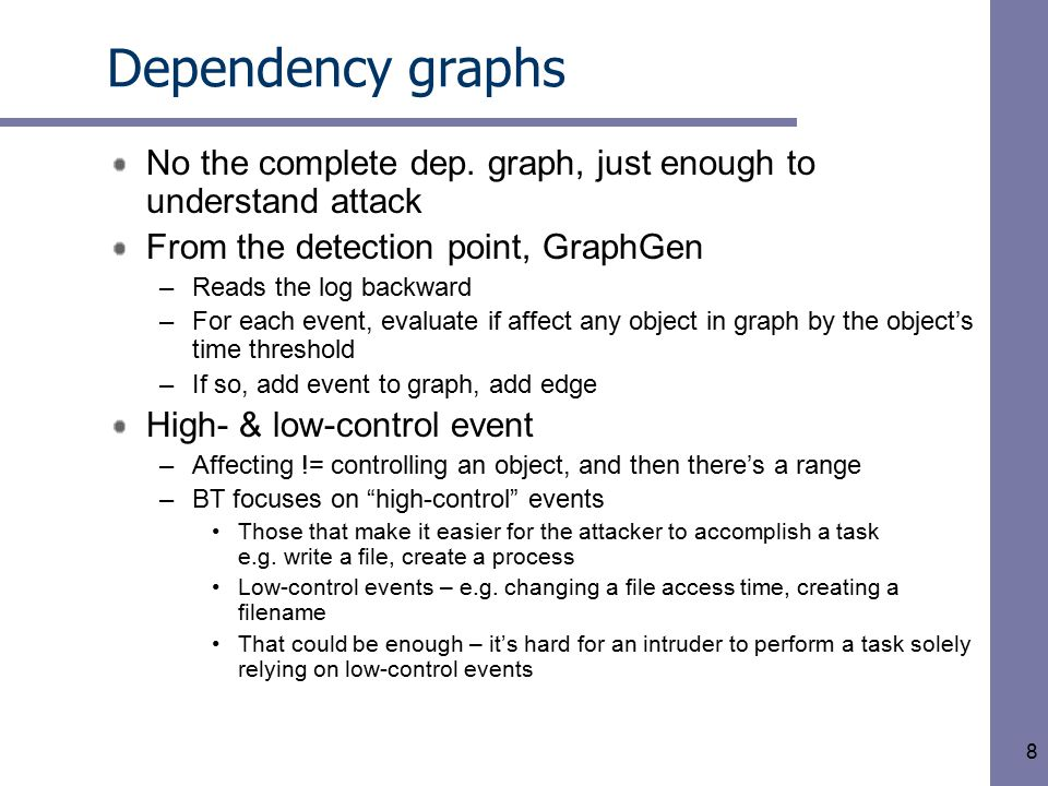 8 Dependency graphs No the complete dep.
