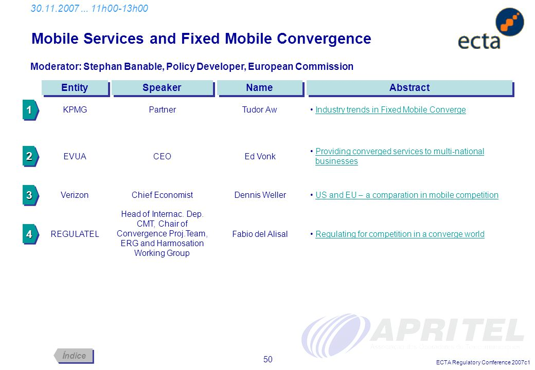 ECTA Regulatory Conference 2007c1 50 Mobile Services and Fixed Mobile Convergence 30.11.2007... 11h00-13h00 Abstract Entity Moderator: Stephan Banable