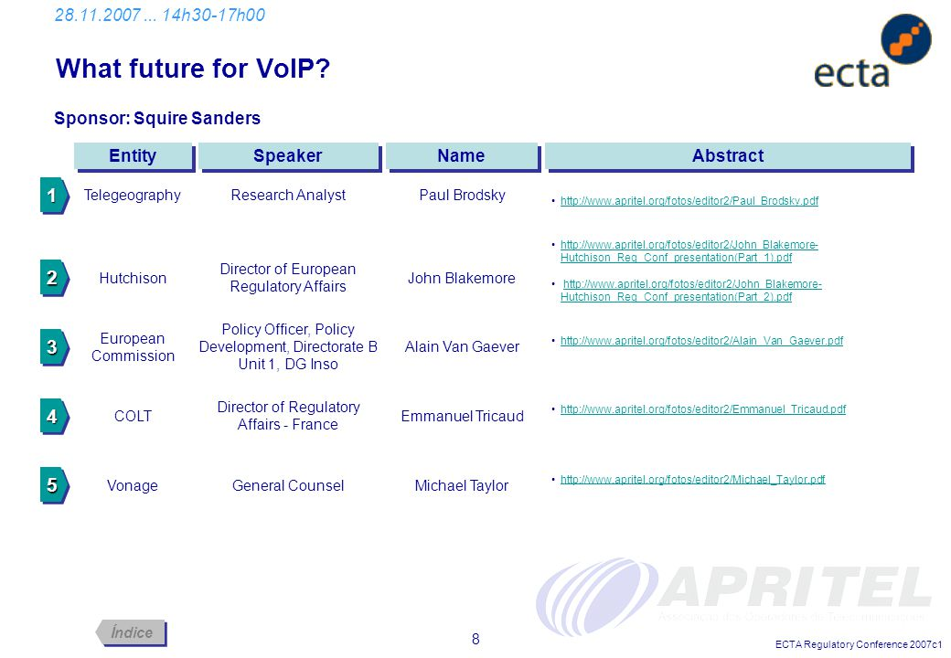 ECTA Regulatory Conference 2007c1 8 What future for VoIP? 28.11.2007... 14h30-17h00 Abstract Entity Sponsor: Squire Sanders Speaker Name Telegeography